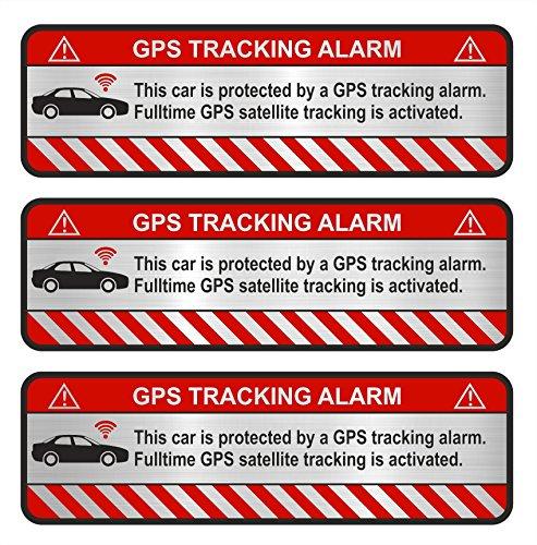 Finest-Folia 3X GPS Aufkleber Fahrrad Motorrad Auto Alarm Warnung Anti Diebstahl Sticker Tracker gesichert R054 (Aluminium Schliff Silber, Auto)