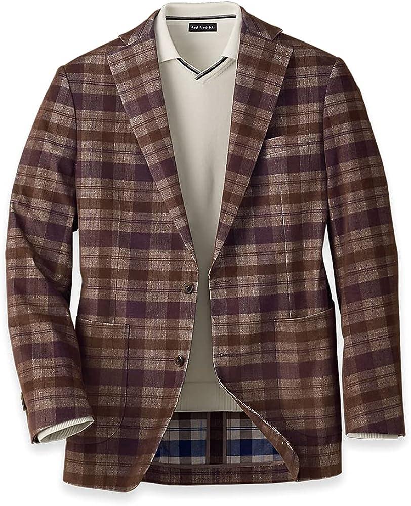 Paul Fredrick Men's Corduroy Plaid Notch Lapel Sport Coat