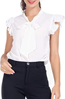 Women's Bow Tie Blouse Casual Ruffle Cap Sleeve Floral Top Shirts