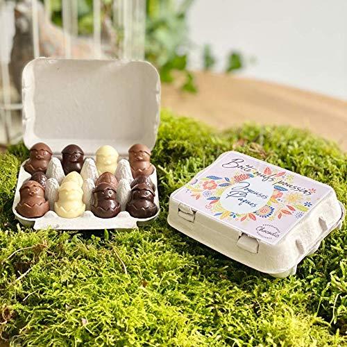 COFFRET BOITE OEUFS EN CHOCOLAT - CHOCOLAT DE PAQUES - GOURMANDISES DE PAQUES - 12 OEUFS EN CHOCOLAT