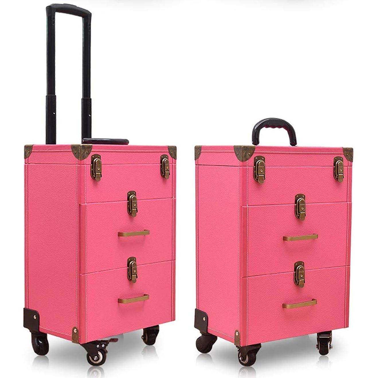 地域のビル居心地の良いトロリー化粧品ケース、三層レトロロックタイプワンピース美容メイクトロリーケース、携帯旅行化粧品ケース、2引き出し付き