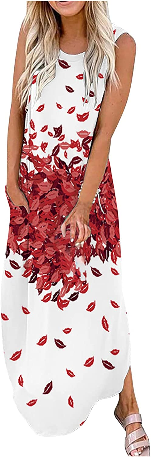Tank Dresses for Women Casual Sleeveless Maxi Dress Flower Graphic Print Sundress O Neck Party Ball Gowns With Pockets