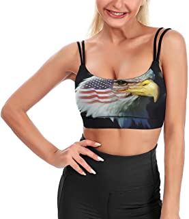 Cyloten Women's Sport Tank Top Flag Patriotic Eagle Yoga Sport Tops Bra Padded Cup Gym Shirts -