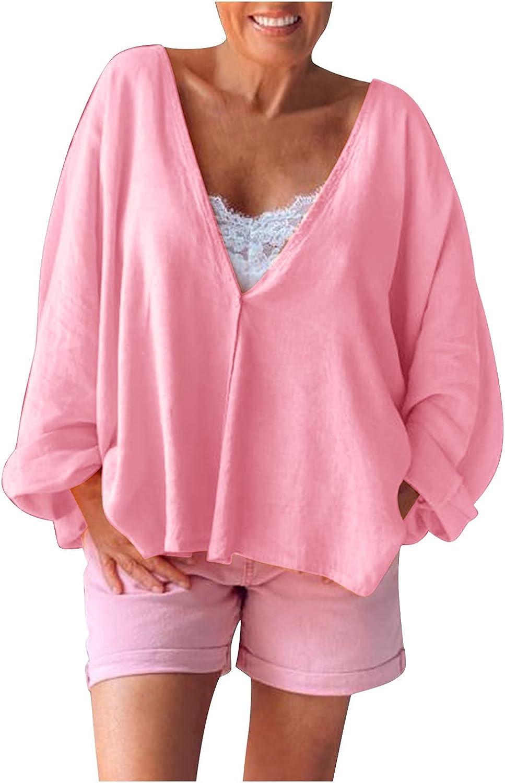 aihihe Women's Long Sleeve V Neck Tops Casual Tunic Blouse Loose Shirts