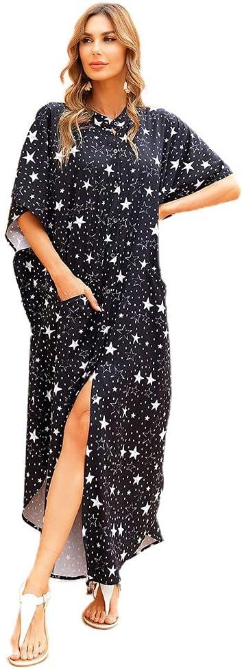 ZHZHUANG Women Boho Five-Pointed Star Wholesale Print Dress Max 80% OFF Beach Bu Shirt