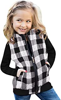 Ivay Girls Buffalo Cotton Plaid Quilted Vest Cute Puff Lined Gilet (4T/100cm, Z Black-White)