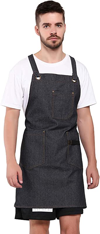 Alice Cherry Adjustable Denim Jean Apron With 4 Tool Pockets For Women Men Chef Cooking Kitchen Gardening Cafe One Size Fits All Black