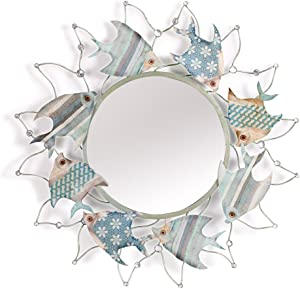 Miroir de Porche Poisson créatif, Salle de Bain Miroir de Salle de Bain, Miroir décoratif de Style méditerranéen, rétro Salon canapé Fond Mur décoration Murale ZDDAB