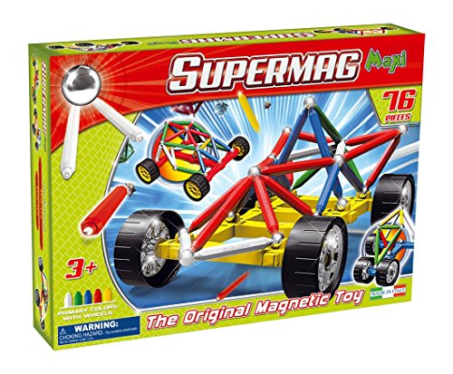 Supermag Toys- Maxi Wheels 76 Gioco di Costruzione Magnetico, 107