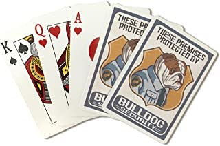 English Bulldog Security - Dog Sign (Playing Card Deck - 52 Card Poker Size with Jokers)