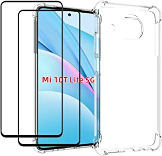 EasyLifeGo for Xiaomi Mi 10T Lite 5G / Redmi Note 9 Pro 5G Case with Tempered Glass (2 Pieces) Slim Shock Absorption TPU S...