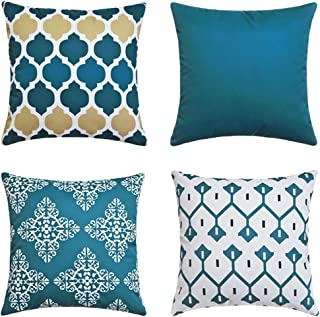 Andreannie Pack of 4 Blue Outdoor Waterproof Double-Sided Printing Decorative Throw Pillow Cover Cushion Case for Garden T...