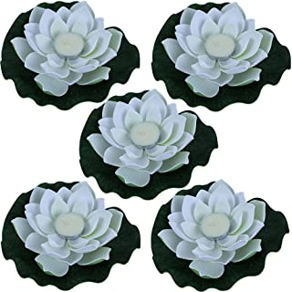 Just Artifacts 5pc Foam Lotus Floating Water Flower Candle (Color: White)