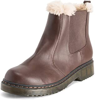 VIVASHOES Womens Chelsea Boots Fur Lined Leather Pull On Waterproof Chunky Rubber Sole Winter Snow Boots