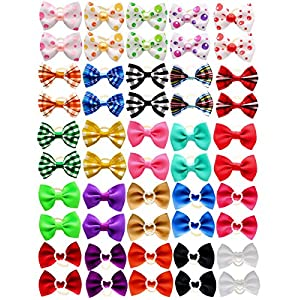 YOY 50pcs / 25 Pairs Adorable Grosgrain Ribbon Pet Dog Hair Bows with Rubber Bands – Puppy Topknot Cat Kitty Doggy Grooming Hair Accessories Bow Knots Headdress Flowers Set for Groomer