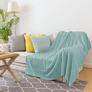 jinchan Throw Blanket Soft Teal Lightweight Cable Knit Sweater Style Year Round Gift Indoor Outdoor Travel Accent Throw for Sofa Comforter Couch Bed Recliner Living Room Bedroom Decor 60
