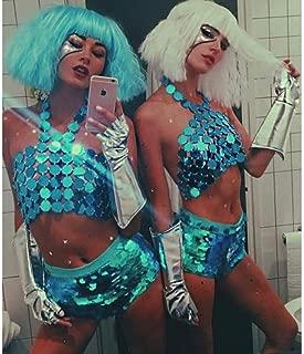 Nicute Boho Sequins Bra Body Chain Blue Festival Bikini Chains Sexy Body Jewelry for Women and Girls