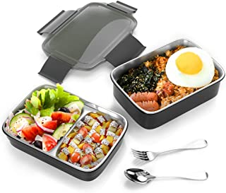 ZIONOR Lunch Box Bento Box For Kids Women Men, Food-Grade Stainless Steel Container with Leak Proof Design, 3 Compartments Bento Box For Snacks Meal, Healthy Durable Lunch Box For School Work Picnic