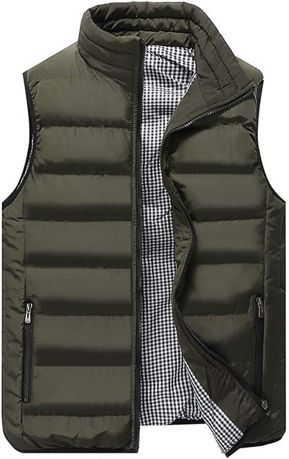 Men's Lightweight Sleeveless Jacket Gilet Body Warmer Vest Winter Casual Slim Coats Clothing Cotton-Padded Men Waistcoat Big Size (Color : Green, Size : Large)