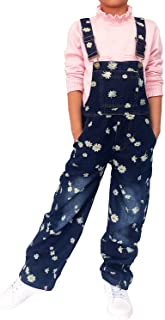 Sponsored Ad - Yao 3-14Years Girls Jumpsuit&Rompers Big Kid Bib Overalls Blue Adjustable Belts Denim Color Changeable Sequ...