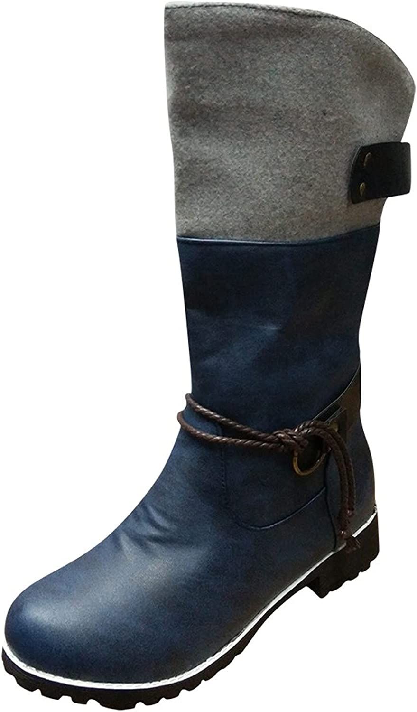 Boots for Women,Women Vintage Retro Thick Low Heels Mid-Calf Boots Buckle Booties Winter Warm Platform Boots