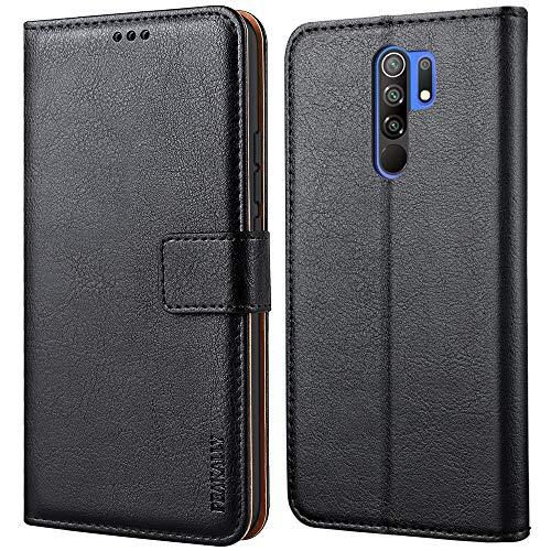 Peakally Cover per Xiaomi Redmi 9, Flip Caso in PU Pelle Premium Portafoglio Custodia per Xiaomi Redmi 9, [Kickstand] [Slot per Schede] [Chiusura Magnetica]-Nero