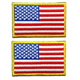 Tactical American Flag Embroidered Patch Gold Border USA United States of America Military Uniform Emblem 2 Pack(3.15X2 inch)