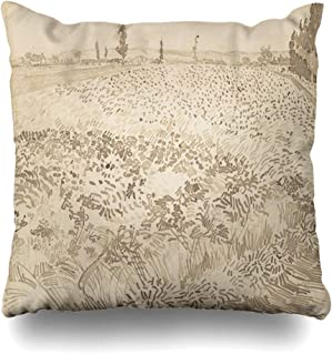 Ahawoso Throw Pillow Cover Trees Wheat Field by Vincent Van Gogh Dutch Nobody Post Impressionist Reed Pen Over Graphite Drawing Decorative Pillowcase Square Size 18