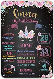 Reusable Unicorn Pink Rose Flower Metal Tin Chalkboard Baby Shower 8x12 inches My First Birthday Party Decoration Easy Clean Signs for Girls Wall Decoration Customizable with Liquid Chalk Markers