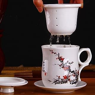 Estilo xiduobao chino Porcelana Hecho a mano kung fu taza de té, cerámica té taza de té con infusor de té, sistema de preparación bonito Tall–Taza de café con plato y tapa