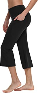 "BALEAF Women's 21""/23""/25"" Yoga Capri Pants Flare Workout Bootleg Leggings Bootcut Crop Side Pockets"
