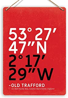 456Yedda Metal Sign Stadium Coordinates Old Trafford Art Manchester World Decor Novelty Art Sign Funny Aluminum Metal Tin Signs 12