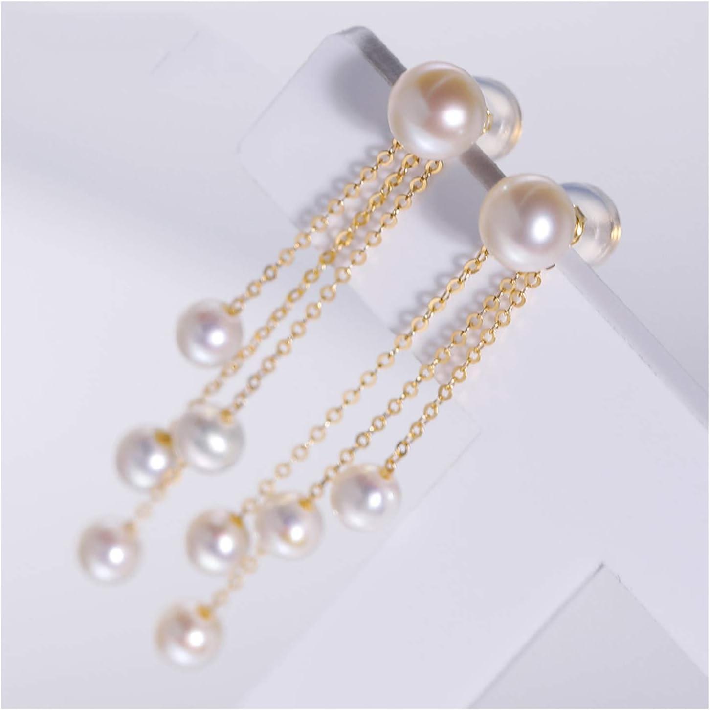 WENMENG2021 Jewelry Bright Freshwater Pearl Earrings Female 18K Gold Tassel Ear Line Gift Tassel Ear Line Fashion Diamond Earrings (Color : A)