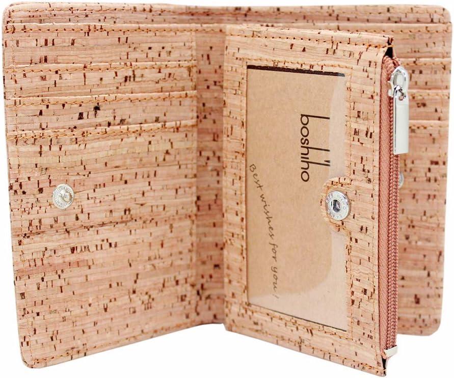 Boshiho Eco Cork Friendly RFID Blocking Wallet Bi-fold Card Holder Vertical Wallet With Zippered Coin Purse & ID Window (cork)