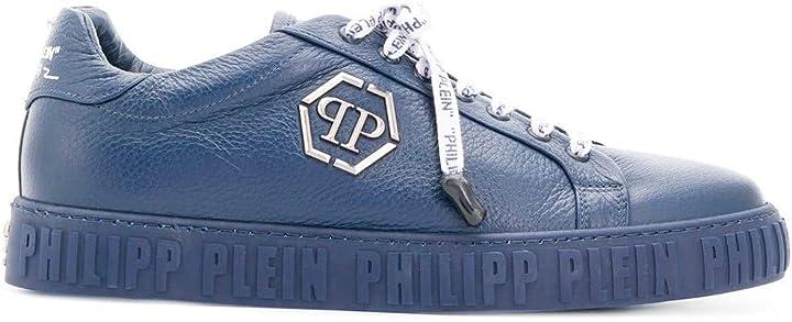Scarpe philipp plein sneaker uomo in pelle martellata blu B07MP4XT6W