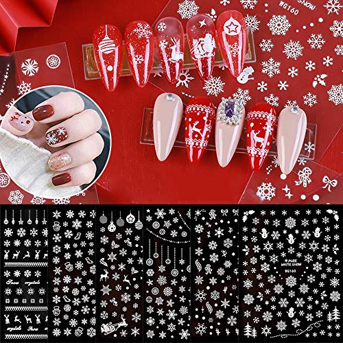 Macute Snowflake Nail Art Stickers 3D Christmas Theme Nail Tips Decals 6 Sheets Christmas Snowflakes Deer Leaf Designs Adhesive Foil Sticker for Manicure Polish Decorations Acrylic Nails Supplies