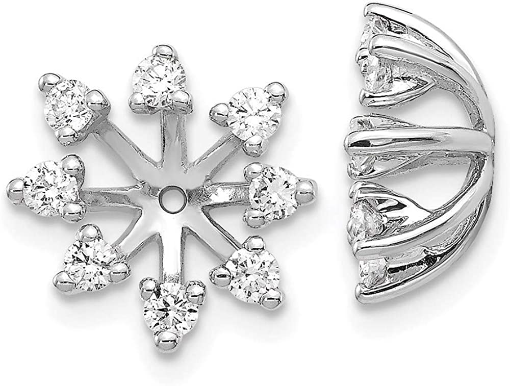 14k White Gold Fancy Diamond Earring Jacket Mountings 12mm 12mm style EJM5307-050-W