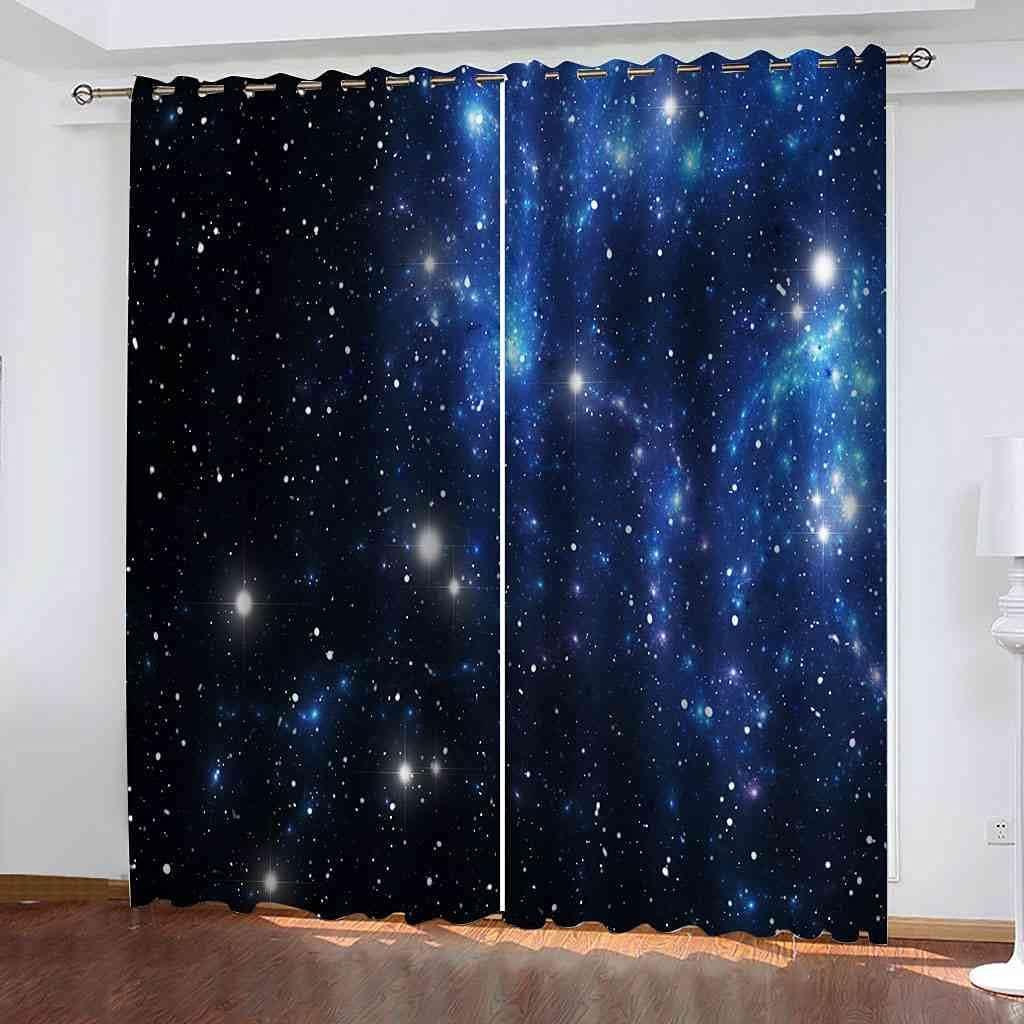 BXXYXH Bedroom Blackout Eyelet Curtains Night Scene Philadelphia Mall Blue Starry Dealing full price reduction