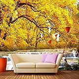 Msrahves posters para pared Amarillo hojas moderno otoño 130X80CM Fotomurales 3D XXL Papel pintado tejido no tejido Decoración de Pared decorativos Murales moderna Diseno Fotográfico