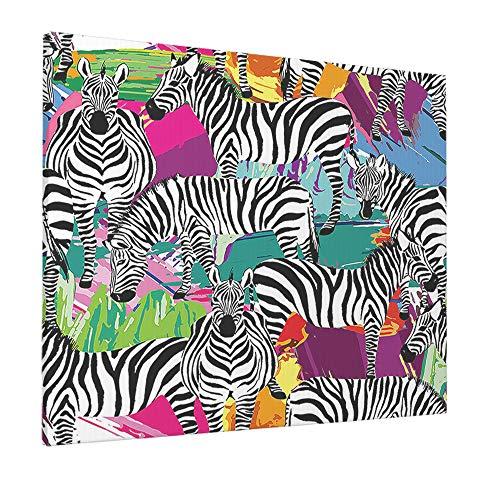 AOYEGO Zebra Wall Decoration Safari Black White Striped Zebras Tropical Animal in Jungle Forest Artwork Print Large Canvas Paint Print for Bathroom Women Men 16x12 Inch