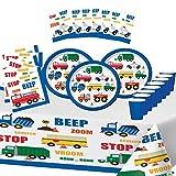 Party Shop Celebrate every day Feste Partito Auto Motto Camion Compleanno Ragazzo 8 Bambini Stoviglie Tovaglia 8 Piatti 8 Tazze 16 Tovaglioli 6 Regalo Sacchetto sorprese
