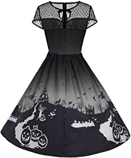 iLOOSKR Halloween Women's O-Neck Mesh Patchwork Printed Vintage Gown Sleeveless Loose Party Dress