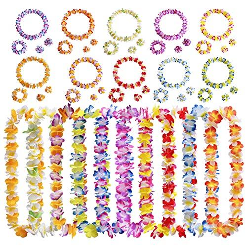 40 unidades hawaianas Leis Luau suministros de fiesta Lei collar de flores de seda diademas pulseras para tropical luau hawaiano,verano, playa, vacaciones, cumpleaños, decoración de boda