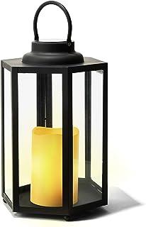 Decorative Solar Candle Lantern - 14 Inch, Glass Panels, Matte Black Metal Frame, Waterproof Flameless Pillar Candle, Dusk...