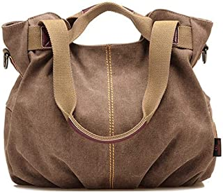 Women's Ladies Vintage Casual Hobo Canvas Multi-Pocket Daily Purse Top Handle Shoulder Tote Crossbody Bag Shopper Handbag