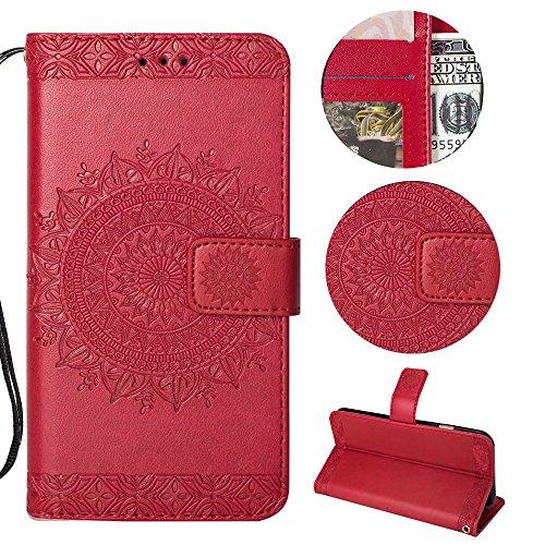 Sycode Galaxy S9 Wallet Hülle,Galaxy S9 Ledertasche,Totem Blumen Rot PU Leder Brieftasche für Samsung Galaxy S9-Rot