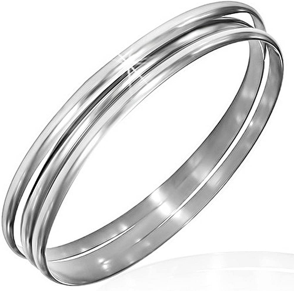My Daily Styles Stainless Steel Three Stackable Womens Bangle Bracelets