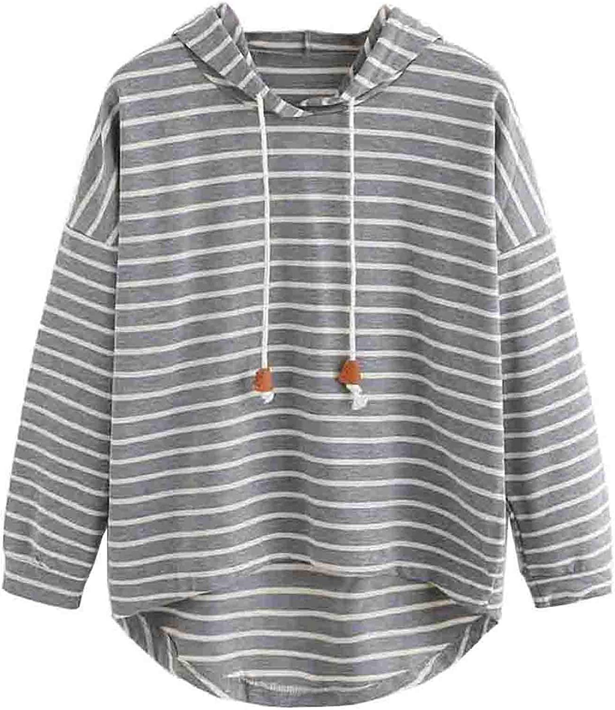 Women's Hoodies Striped Plus Size Casual Sweatshirt Trendy Drawstring Drop Long Sleeves Blouse Loose Shirts