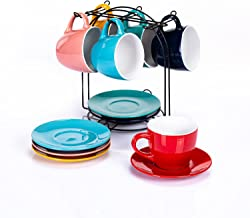 Cutiset 8 Ounce Ceramic Tea Espresso Cup and Saucer Set with Metal Stand, Set of 6, Assorted colors (Assorted Colors)