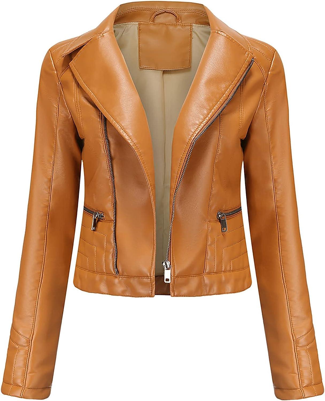 Womens Long Sleeve Faux Leather Crop Jacket Casual Lapel Zip-Full Moto Rock Jacket Coat